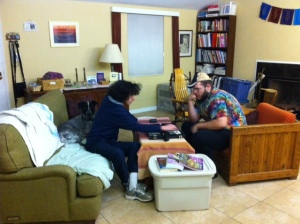 Dovi and Aryeh enjoying their time together while playing backgammon.