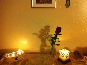 Candles with rose