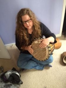 drumming with dog